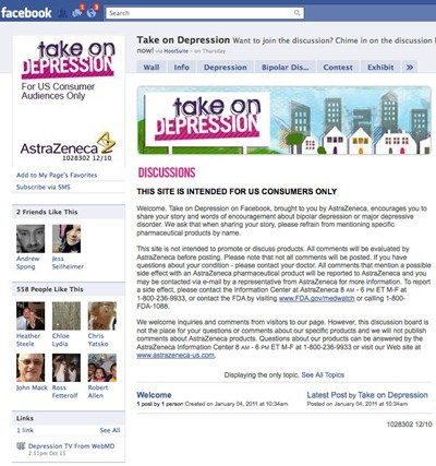 AstraZeneca Take on Depression Facebook page
