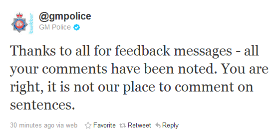 @gmpolice Thanks to all for feedback messages - all your comments have been noted. You are right, it is not our place to comment on sentences.