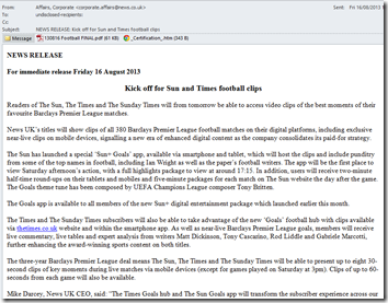 News UK spam news release