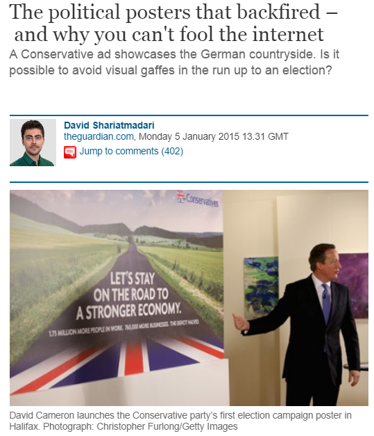 "David Cameron launching ""Let's stay on the road to a stronger economy"" poster"