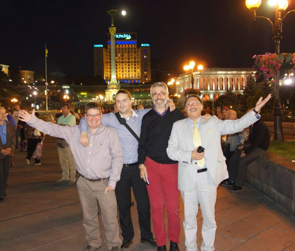 Stuart Bruce, Lars Hilse, Gianni Catalfamo and Maxim Behar in Maidan Nezalezhnosti (Independence Square) in Kyiv for the Davos World Communication Forum.