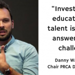 "Picture of Danny Whatmough saying ""Investment in education and talent is the only answer to this challenge"""