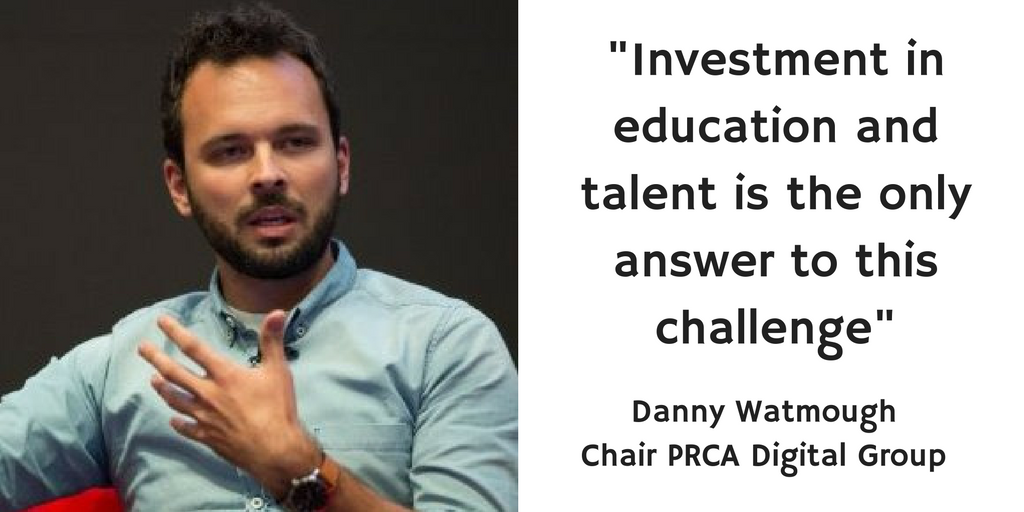 """Picture of Danny Whatmough saying """"Investment in education and talent is the only answer to this challenge"""""""